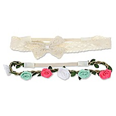 image of Capelli New York 2-Pack Crochet and Cord Headbands in White