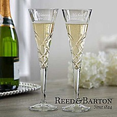 image of Reed & Barton Engraved Crystal Champagne Flutes (Set of 2)