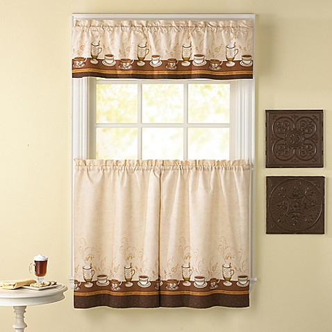 Caf 233 Au Lait Kitchen Window Curtain Tiers And Valance
