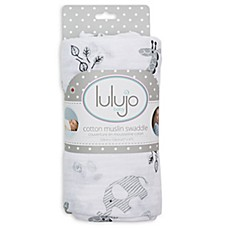 image of Lulajo Baby Afrique Muslin Swaddle Blanket in White