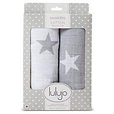 image of Lulajo Baby 2-Pack Stars Muslin Swaddle Blanket Set in White