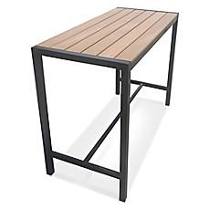 Metro Steel Outdoor Slat Top Rectangular Bar Height Table