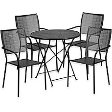 Image Of Flash Furniture Outdoor Patio Furniture Set With Square Back Chairs  In Black