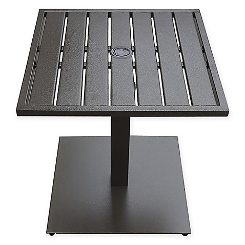 never rust aluminum outdoor slat-top umbrella base table - bed bath Best Umbrella Base