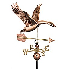 image of Good Directions Feathered Goose with Arrow Weathervane in Copper
