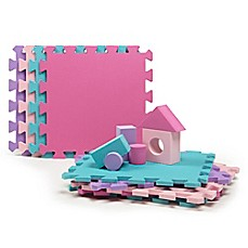 image of Tadpoles™ 9-Piece Play Mat with Blocks in Pink/Purple