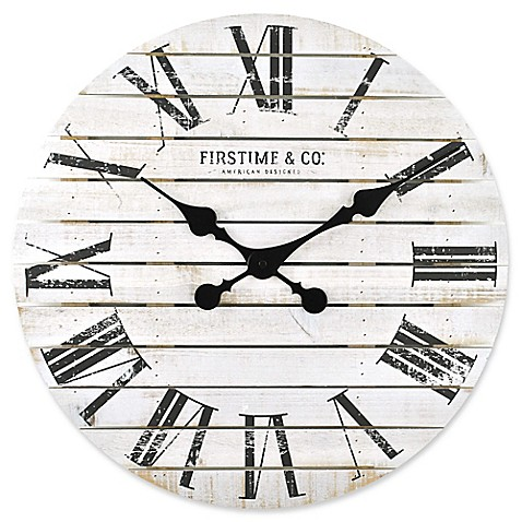 Firstime shiplap wall clock in white bed bath beyond firstimereg shiplap wall clock in white ccuart Image collections