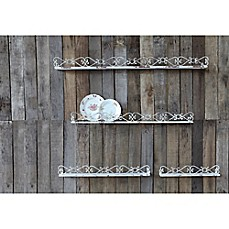 image of Creative Co-Op Distressed Iron Shelves in Cream (Set of 4)