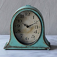 image of 8.5-Inch Oval Metal Mantle Clock in Aqua
