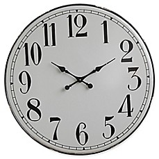 image of 3625inch round iron wall clock in grey