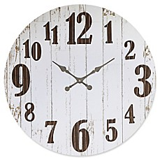 image of 36-Inch Round Wood and Metal Wall Clock in White