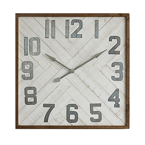 Wood And Metal 36 Inch Square Wall Clock Bed Bath Amp Beyond
