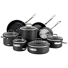 image of All-Clad B1 Nonstick Hard Anodized 13-Piece Cookware Set and Open Stock