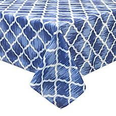image of Bardwil Linens Indigo Trellis Indoor/Outdoor Tablecloth with Umbrella Hole