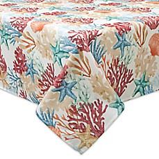 image of Bardwil Linens Coral Oasis Indoor/Outdoor Tablecloth with Umbrella Hole