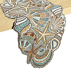 image of Beaded Coastal 34-Inch Table Runner in Aqua