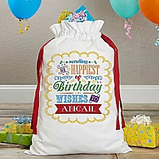 image of Birthday Toys Canvas Drawstring Toy Bag