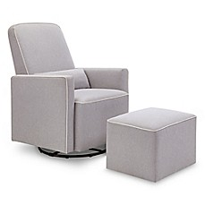 image of DaVinci Olive Upholstered Swivel Glider and Ottoman in Grey with Cream Piping