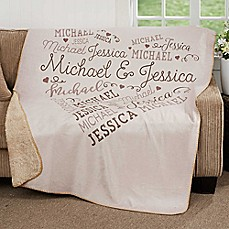 image of Our Loving Heart Premium Sherpa Throw Blanket