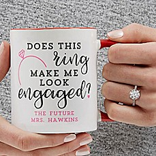 image of Does This Ring Make Me Look Engaged 11 oz. Coffee Mug in Red