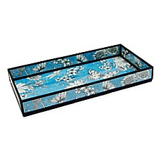 image of Floral Print Decorative Glass Vanity Tray in Blue