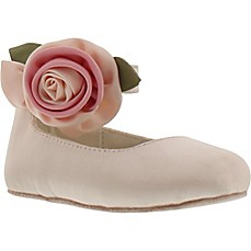 image of Stuart Weitzman Baby Jana Mary Jane in Light Pink with Satin Rose