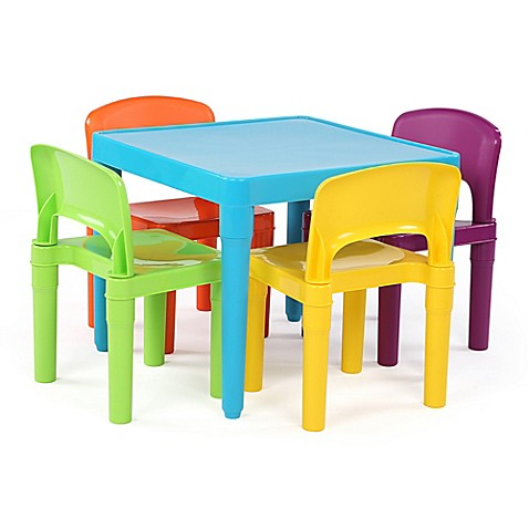 Buy Tot Tutors Playtime 4 Piece Plastic Table Chairs Set In Aqua From Bed Bath Beyond