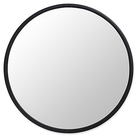 Umbra Reg Hub 24 Inch Round Wall Mirror In Black