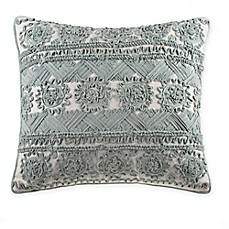image of Rope Embroidered Square Throw Pillow in Spa