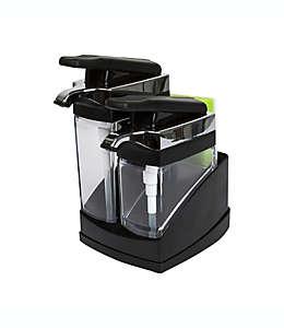 Casabella® Sink Sider™ Dispensador doble con esponja en negro
