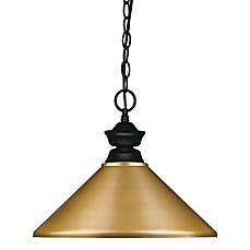 image of filament design perla 1light pendant in matte black with gold metal shade