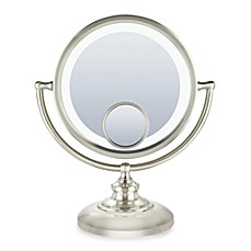 image of Conair® Fluorescent 1x/10x/15x Fluorescent Mirror with Satin Nickel Finish