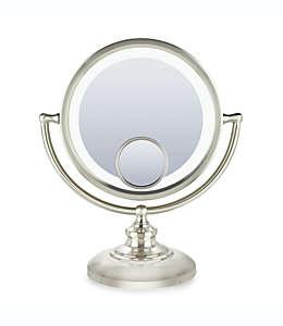 Espejo fluorescente con aumento Conair®, en níquel satinado