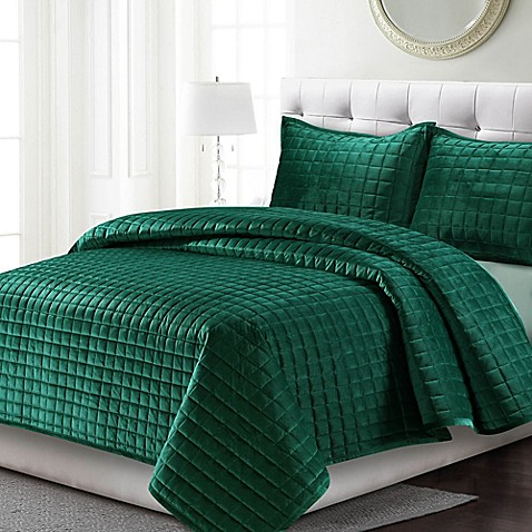 Tribeca Living Florence Velvet Quilt Set Bed Bath Amp Beyond