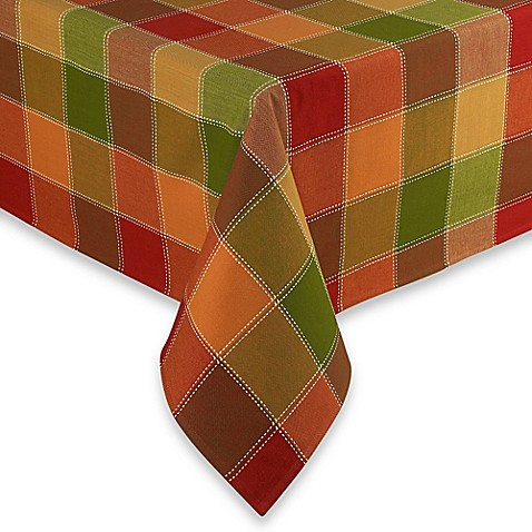 Autumn Check 60 Inch X 102 Inch Oblong Tablecloth Bed