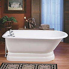 "image of Cheviot Traditional 61"" Roll Rim Cast Iron Bathtub w/ Drill and Pedestal Base in White"
