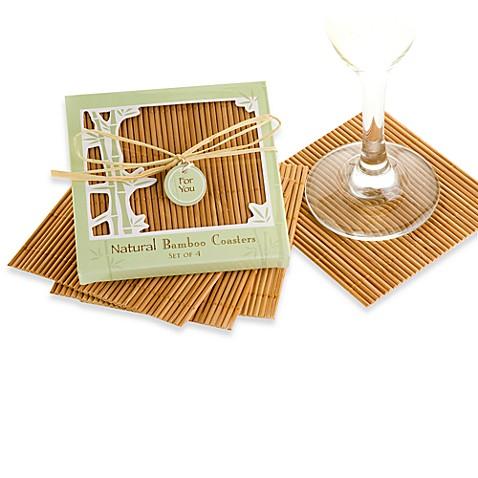 kate aspen natural bamboo coaster wedding favors set of 4 bed bath beyond. Black Bedroom Furniture Sets. Home Design Ideas