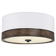 image of Filament Design 3-Light Flush Mount Light Fixture in Wood/White