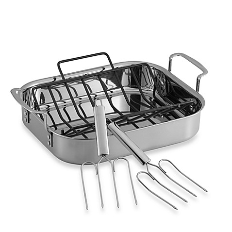 triply stainless steel 14inch roaster with rack and lifters