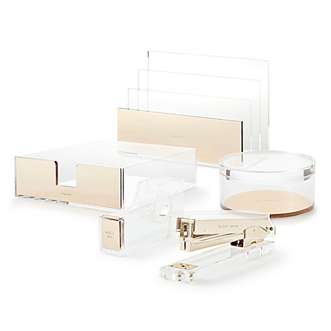 Kate spade new york strike gold desk accessory collection for Bed bath and beyond kate spade