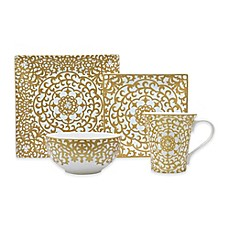 image of 222 Fifth Casbah 16-Piece Dinnerware Set in Gold