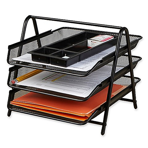 Mind Reader 3 Tier Mesh Paper Tray Desk Organizer In Black