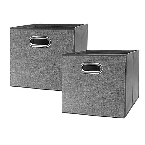 market village textured herringbone collapsible 12 inch storage cube set of 2 in black and. Black Bedroom Furniture Sets. Home Design Ideas