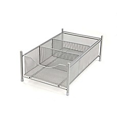 image of Mind Reader 3-Compartment Mesh Storage Bin in Silver