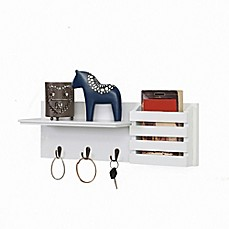 image of Danya B.™ Utility Shelf with Pocket and Hanging Hooks in White