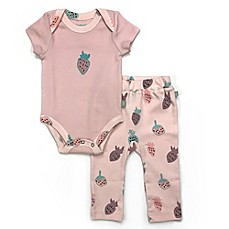 image of Finn By Finn + Emma®  Organic Cotton Strawberry Bodysuit and Pant Set