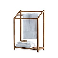 image of teak free standing towel rack - Towel Warmer Rack