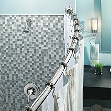 Image Of Moen® Adjustable Curved Chrome Shower Rod