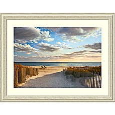 image of Amanti Art Sunset Beach 45-Inch x 34-Inch Framed Wall Art