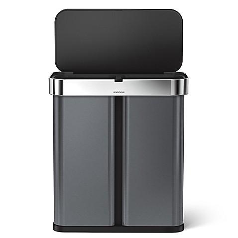 simplehuman 58 liter dual compartment voice motion sensor trash can bed bath beyond. Black Bedroom Furniture Sets. Home Design Ideas